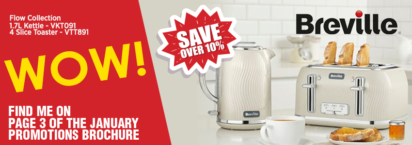 Save over 10% on the Breville Flow Collection in Cream