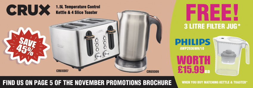 Get a FREE Philips Water Filter Jug when you buy matching Kettle & Toaster from Crux