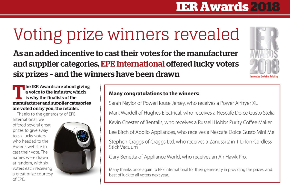 IER Awards ANNOUNCEMENT