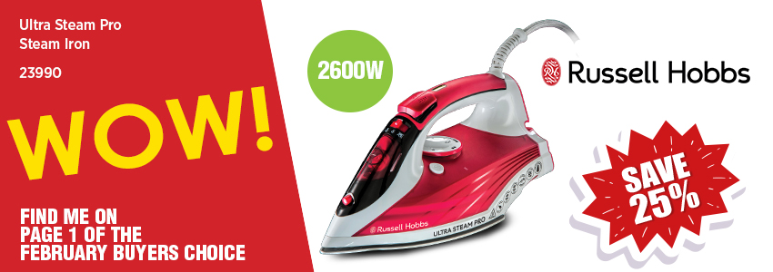 Save 25% on the Russell Hobbs Ultra Steam Pro Steam Iron